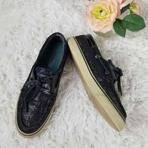 Sperry Top Sider Black Sparkle Boat Shoes 8